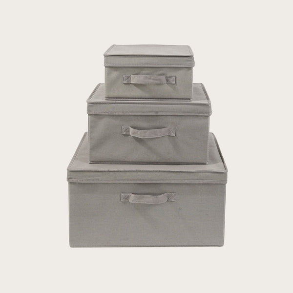 Dara Canvas Storage Box (Set of 3) in Grey