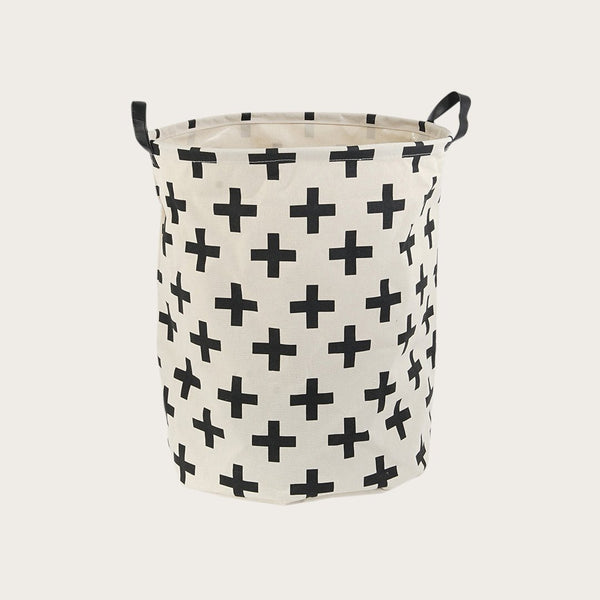Kalay Canvas Storage Basket in Cross Print