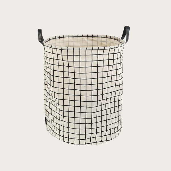 Kalay Canvas Storage Basket in White Checker Print