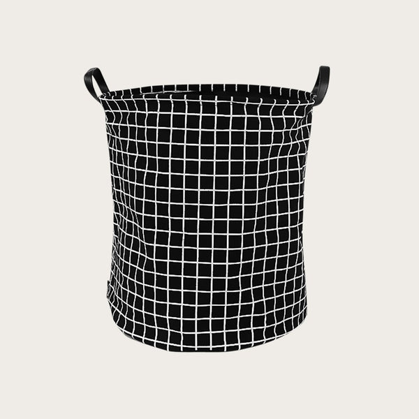 Kalay Canvas Storage Basket in Black Checker Print