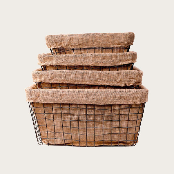 Abia Set of 4 Wire Burlap Baskets