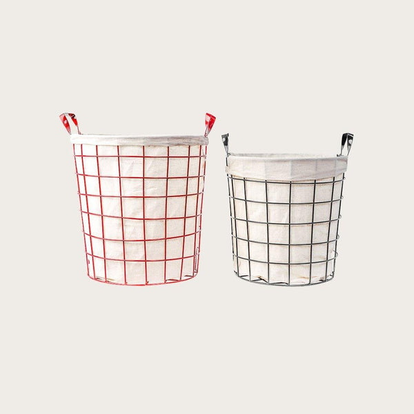 Red Metal Storage Baskets with Fabric Liner