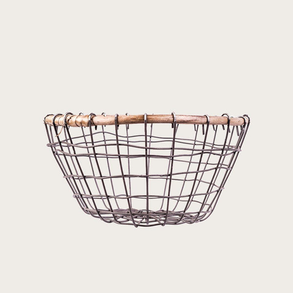 Michella Medium Wire & Rattan Basket