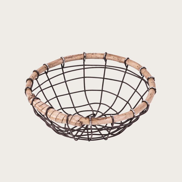 Michella Small Wire & Rattan Basket