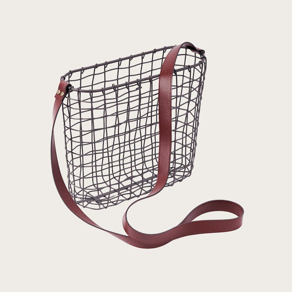 Small Vintage Wire Basket with Faux Leather Handle