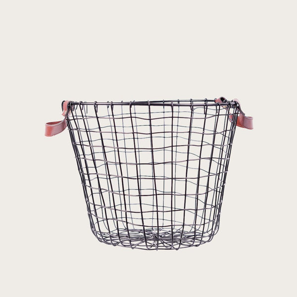 Tomaso Medium Wire & Faux Leather Basket