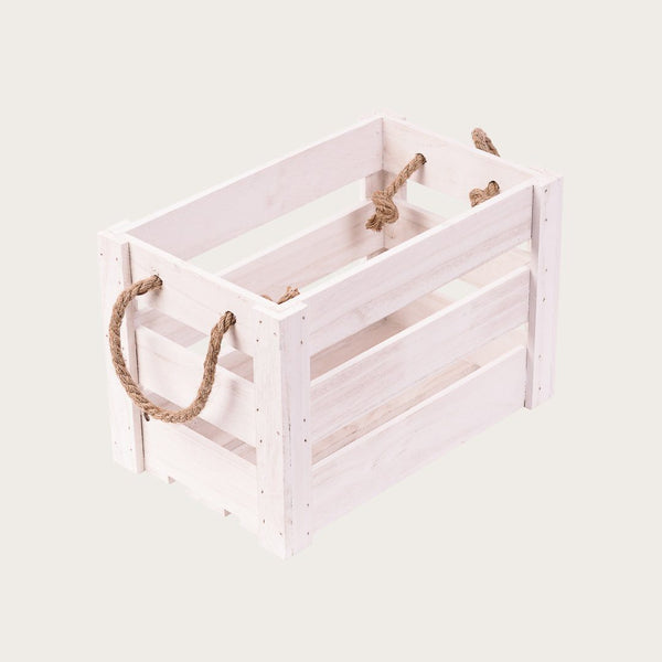 Daniella Small Crate Storage Box in White