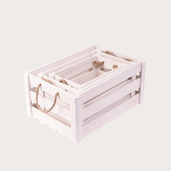 Daniella Medium Crate Storage Box in White