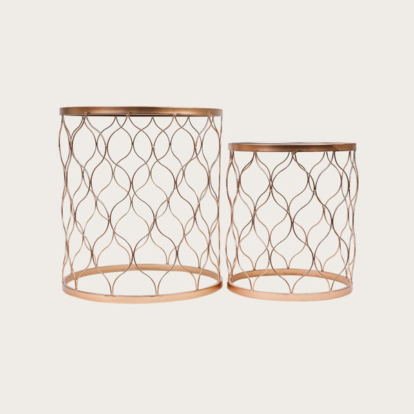 Set of 2 Arlette Mirror Nesting Tables
