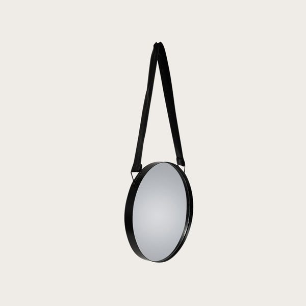 Fernand Small Wall Mirror with Faux Leather Handle