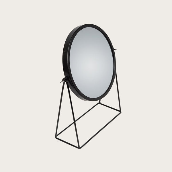 Braque Makeup Mirror with Stand in Black