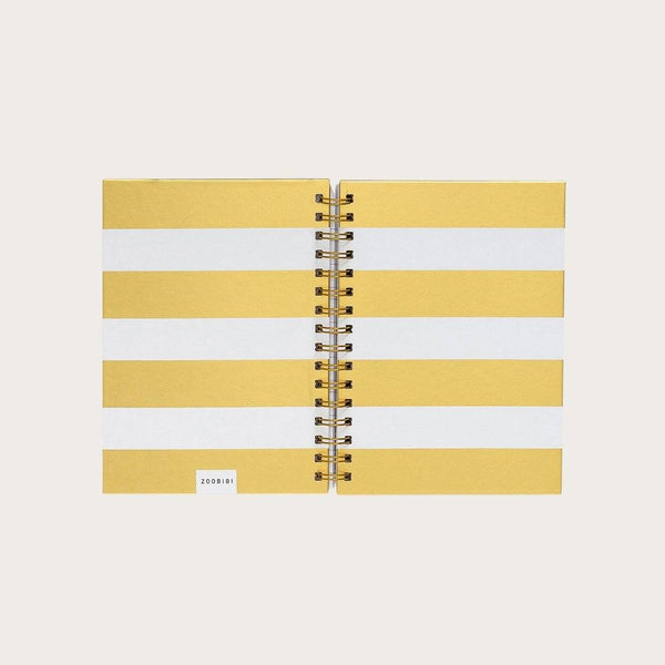 Jules A5 Hardcover Spiral Notebook in Gold & White Stripes