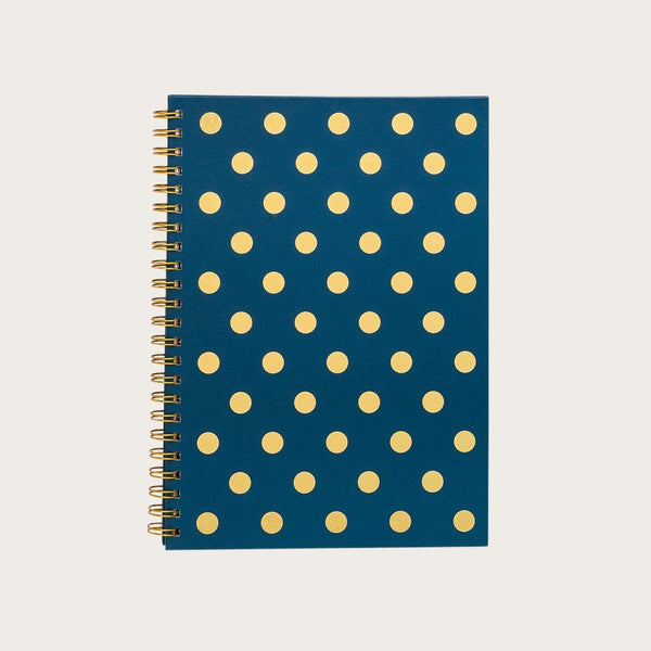 Doyle A4 Hardcover Spiral Notebook in Blue & Gold Polkadot