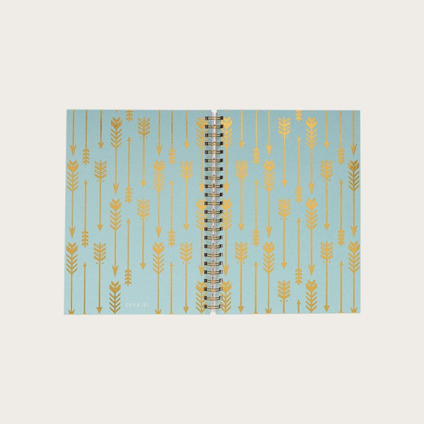 Doyle A4 Hardcover Spiral Notebook in Gold Arrow Pattern