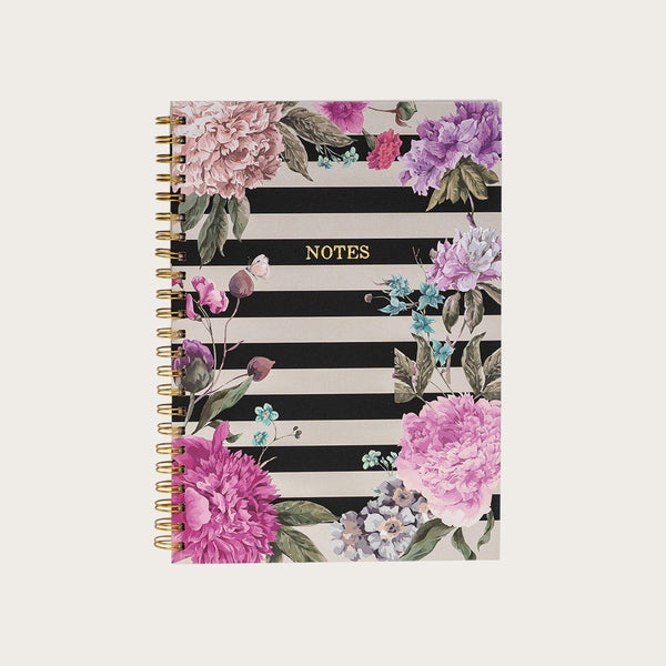 Doyle A4 Hardcover Spiral Notebook in Striped Floral