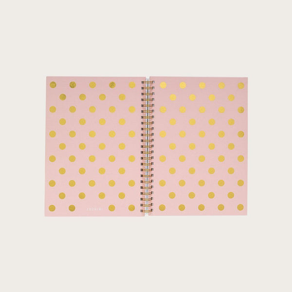 Doyle A4 Hardcover Spiral Notebook in Pink & Gold Polkadot