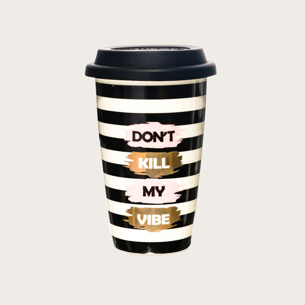 Melissa Ceramic Travel Mug in Black & White StripeS