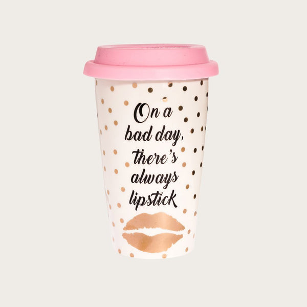 Melissa Ceramic Travel Mug in Lipstick Print