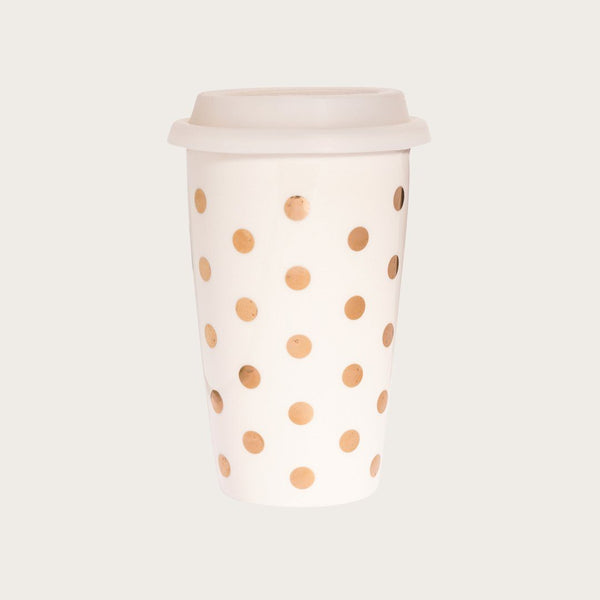 Melissa Ceramic Travel Mug in Gold Polkadots