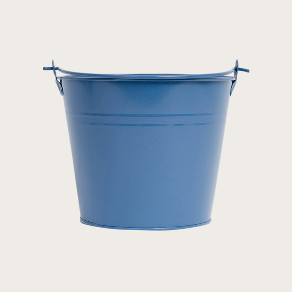 Blasso Metal Round Bucket with Handle in Deep Blue