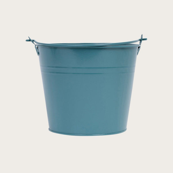 Blasso Metal Round Bucket with Handle in Deep Green