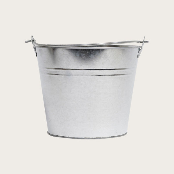 Blasso Metal Round Bucket with Handle in Galvanized