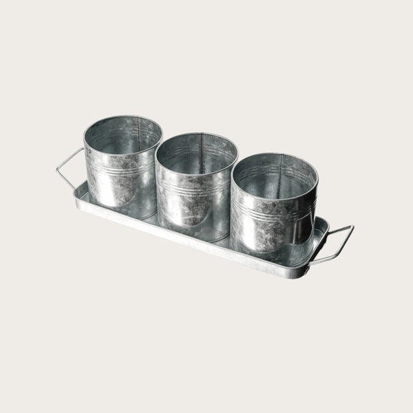 Set of 4 Galvanized Metal Tray & Cutlery Holder