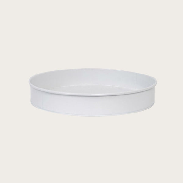 Ida Round Metal Tray in White