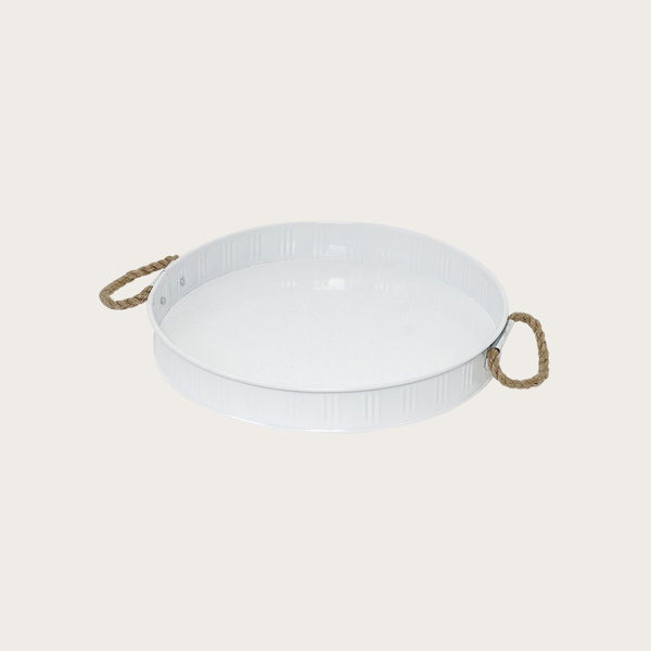 Georgina Metal Round Tray with Rope Handle
