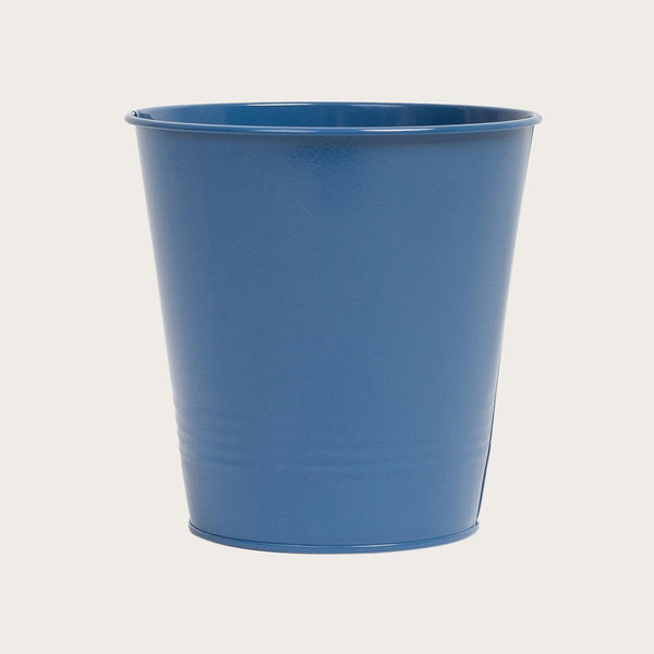 Ganda Round Metal Bucket in Deep Blue