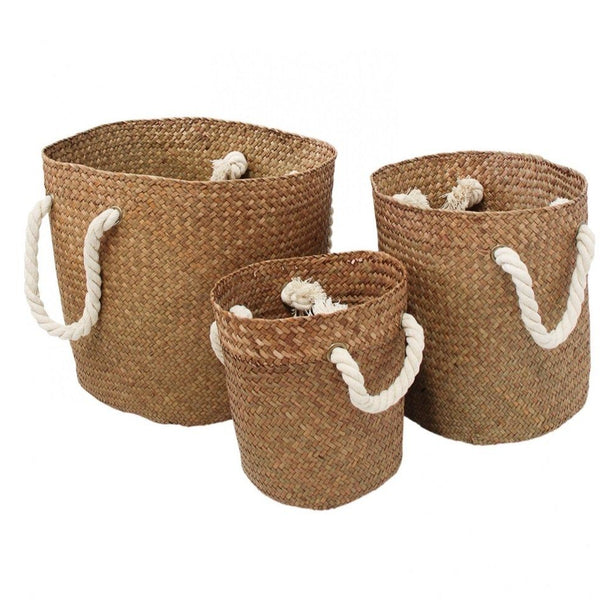 Small woven Basket Rope Handle - Natural