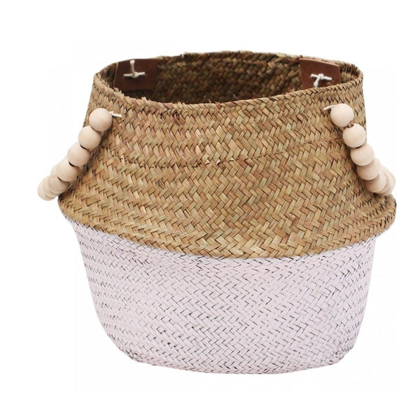 Small Seagrass Basket W/ Beaded Handles - Pink/Natural
