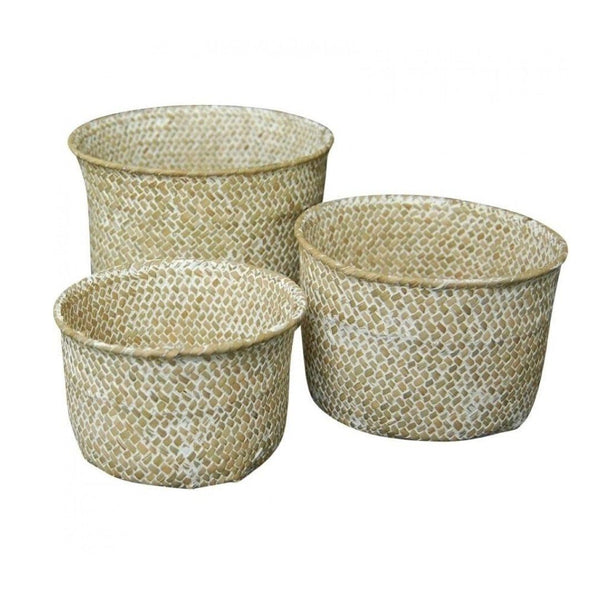S/3 Woven Tubs in Natural Wash