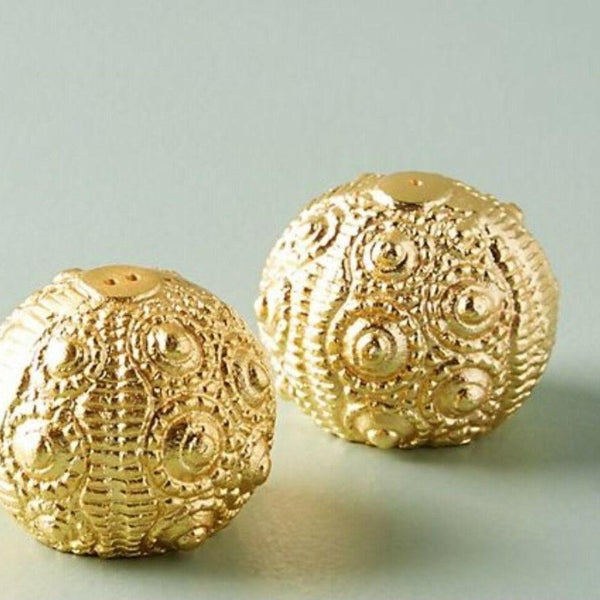 Sea Urchin Salt and Pepper Shakers - Gold