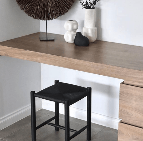 Oak Wood Stool with Rope Woven Seat in Black