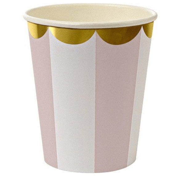 PINK & WHITE STRIPED PARTY CUPS