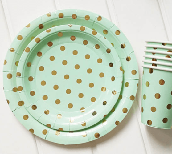 MINT GREEN & GOLD POLKADOT PAPER PARTY PLATES