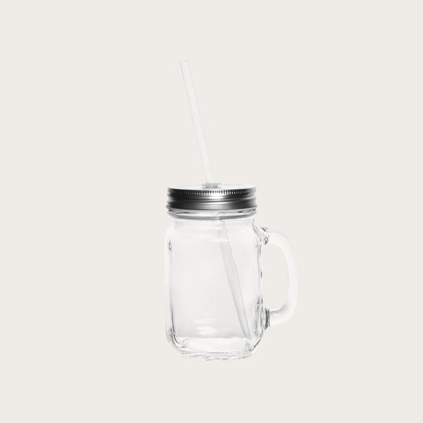 Set of 4 Leopold Glass Mason Jars with Straw in Clear