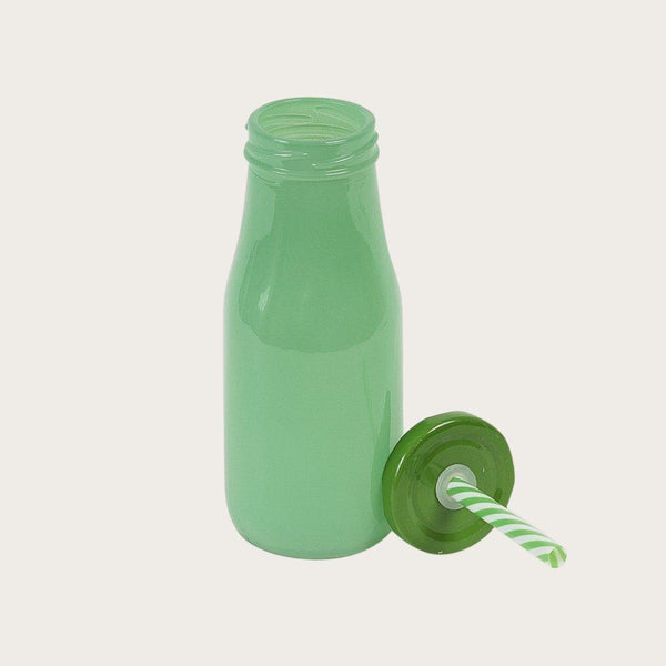 Set of 4 Marshall Glass Milk Bottles with Straw in Green