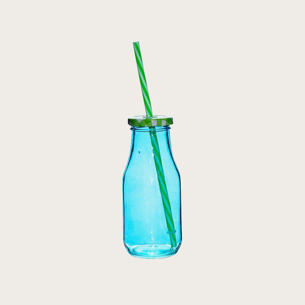 Set of 4 Humbert Glass Milk Bottles with Straw in Blue