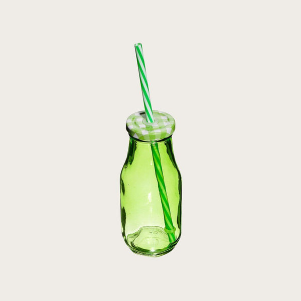 Set of 4 Humbert Glass Milk Bottles with Straw in Green