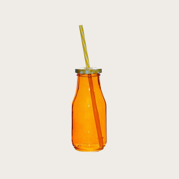 Set of 4 Humbert Glass Milk Bottles with Straw in Orange