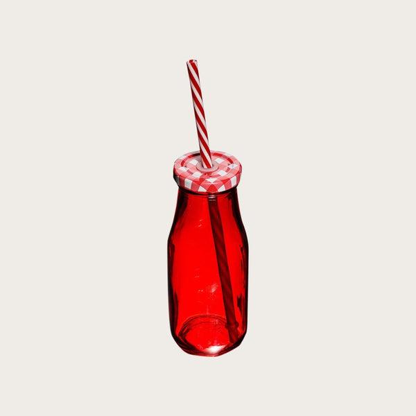 Set of 4 Humbert Glass Milk Bottle with Straw in Red