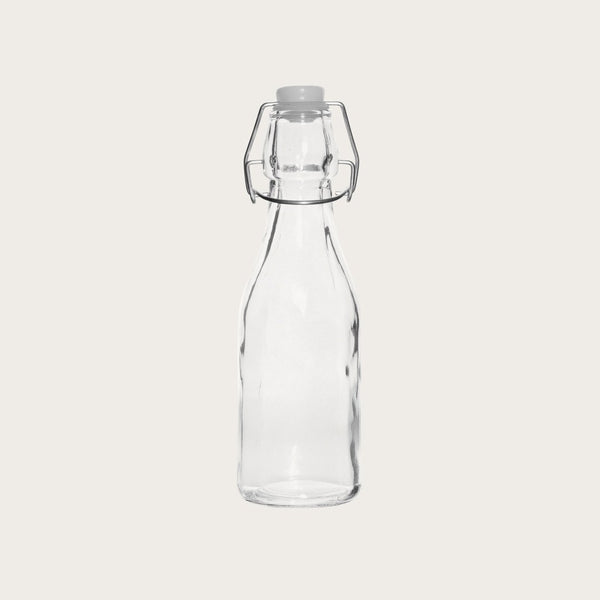 Set of 4 Maynard Small Glass Water Bottle with Clip Lid