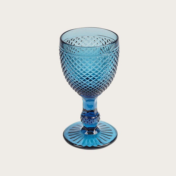 Renaud Goblet Textured Wine Glass in Blue