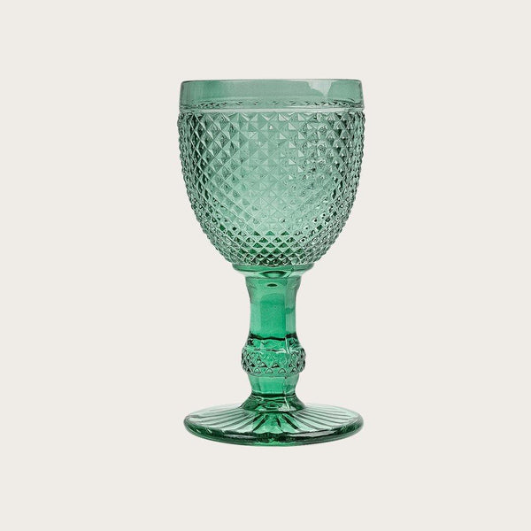 Renaud Goblet Texture Wine Glass in Green