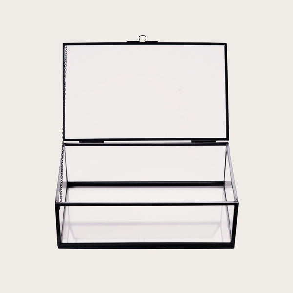 Houdini Large Glass Storage Box in Black