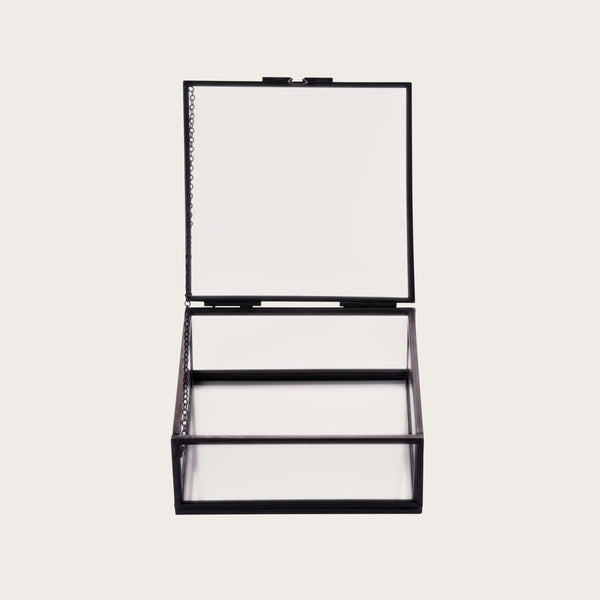 Houdini Small Glass Jewellery Box in Black