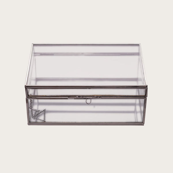 Thurston Rectangle Glass Jewellery Box in Silver