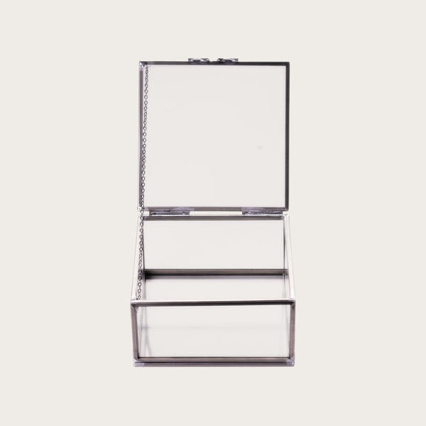 Thurston Square Glass Jewellery Box in Silver